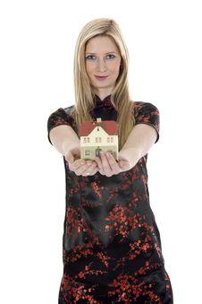 Free Business Woman Advertises Real Estate Stock Photos - 3918213