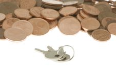 Free Bunch Of Keys In Front Of Pile Of Cents Royalty Free Stock Photography - 3918597