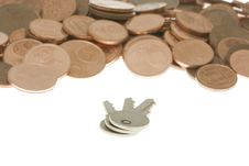 Free Bunch Of Keys In Front Of Pile Of Cents Royalty Free Stock Photos - 3918598