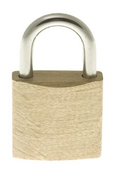Isolated Locked Brass Padlock Royalty Free Stock Images