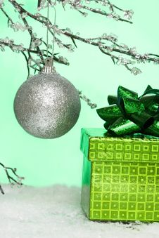 Christmas Ball And Gift Box Royalty Free Stock Photos