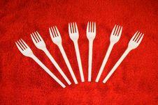 Free Plastic Forks On Red Background Stock Photography - 3920002
