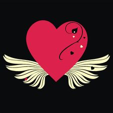 Free Red Heart With Wings Royalty Free Stock Photography - 3921027