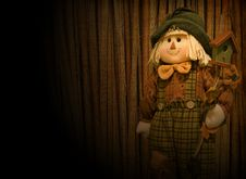 Happy Scarecrow In The Spotlight Stock Images