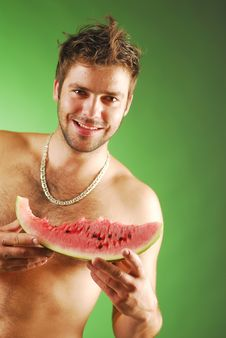 Free Man With A Watermelon Stock Photos - 3923253