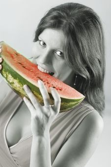 Free Woman With A Watermelon Stock Photos - 3923363