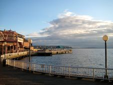 Pier At Puget Sound In Seattle Stock Images
