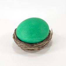 Green Easter Egg In Nest Stock Images