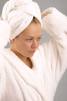 The Girl In A Dressing Gown Stock Photography