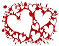 Free Bloody Stencil Hearts Splatter Background Stock Images - 3934704
