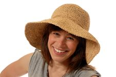 Free Young Lady  With Straw Hat Stock Photos - 3930543