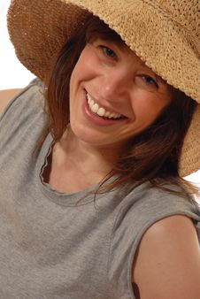 Free Young Lady  With Straw Hat Stock Photo - 3930550