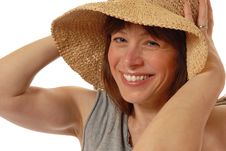 Free Young Lady  With Straw Hat Royalty Free Stock Photo - 3930555