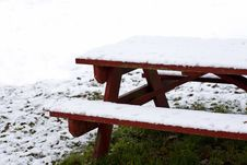 Free Snow Covered Red Picnic Table Royalty Free Stock Photo - 3931405
