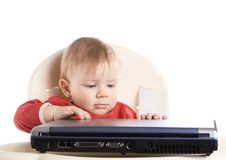 Baby With Laptop Stock Image