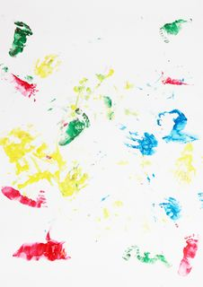 Traces Of Children S Hands And Legs Royalty Free Stock Images