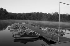 Free Foggy Boat Dock Royalty Free Stock Photography - 3934147
