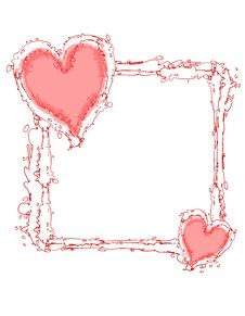 Free Doodle Ink Pink Hearts Frame Or Border Royalty Free Stock Photo - 3934635