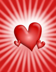Free Red Glowing Light Rays Hearts Background 2 Royalty Free Stock Photography - 3934697