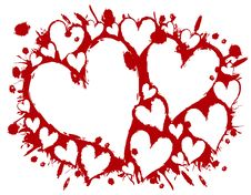 Bloody Stencil Hearts Splatter Background Stock Images