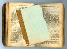 Lined Paper On Antique Book Royalty Free Stock Photo