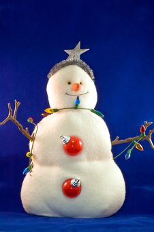 Stuffed Toy Christmas Snowman Stock Image