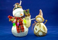Two Toy Christmas Snowmen Stock Images
