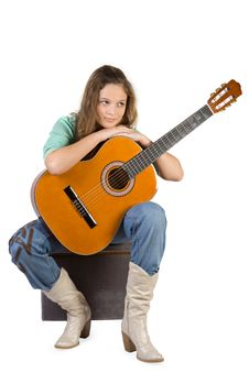 Free Young Girl With Guitar. Stock Photo - 3936920