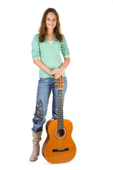Free Young Girl With Guitar. Royalty Free Stock Photography - 3936927