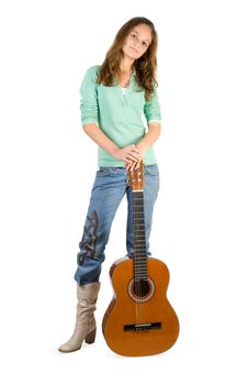 Free Young Girl With Guitar. Royalty Free Stock Photos - 3936928