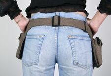 Woman  With Money Belt Bag Stock Photo