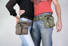 Free Couple With Belt Bag Pouches Royalty Free Stock Photo - 3937055