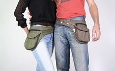 Free Couple  With Belt Bag Pouches Stock Photos - 3937063