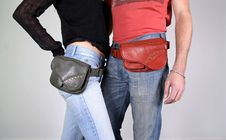 Free Couple  With Belt Bag Pouches Stock Image - 3937071