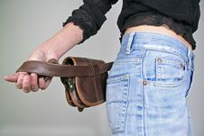 Woman  With Money Belt Bag Stock Images