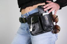 Free Woman  With Money Belt Bag Stock Photos - 3937083