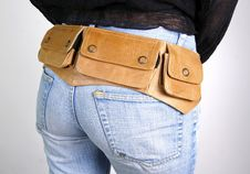 Woman  With Money Belt Bag Royalty Free Stock Images