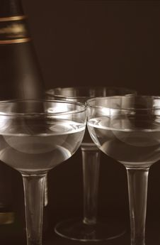 Bottle And Goblets On Champagne Royalty Free Stock Photography