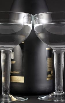 Bottle And Goblets On Champagne Stock Image