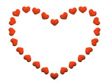 The Heart Made Of Small Red Hearts Royalty Free Stock Image