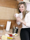 Free Young Woman In The Kitchen Royalty Free Stock Photos - 3944098
