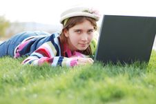 Free Young Girl And Laptop Royalty Free Stock Photos - 3940148