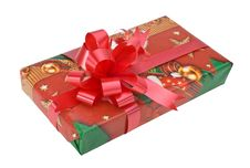 Christmas Gift Box With Red Ri Royalty Free Stock Photos
