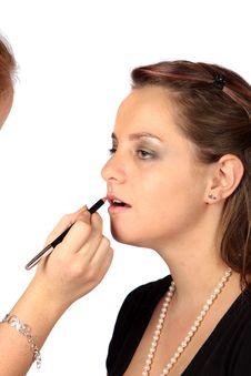 Free Applying Lipstick Royalty Free Stock Photos - 3941738