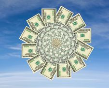 Free Money Flower On A Blue Sky Background Royalty Free Stock Photography - 3942057