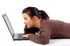 Free Woman Working On Laptop Stock Photography - 3942372