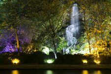 Free Waterfall And Colourful Lights Royalty Free Stock Images - 3943229