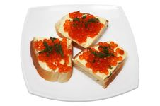 Free Sandwiches With Red Caviar Stock Photo - 3945840