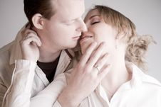 Free Portrait Of A Young Kissing Couple Stock Photo - 3946140