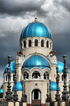 Free Temple With Blue Domes Stock Images - 3948554